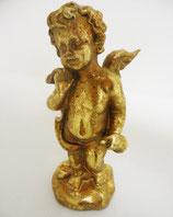 Putti angelot musicien avec porte-voix, en résine dorée à la main. H. 20 cm