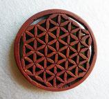 Fleur de Vie pendentif en bois naturel mahagani sculpté à la main D.4.2 cm