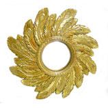 Miroir convexe ou sorcière rond avec plumes de paon dorées à la main D.42 cm