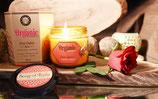 Bougie bio sans certification 200g dans verre ambre parfum rose de Damas