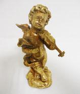Putti angelot musicien avec violon, en résine dorée à la main. H. 20 cm