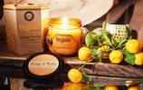 Bougie bio sans certification 200g dans verre ambre parfum orange
