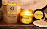 Bougie bio sans certification 200g dans verre ambre parfum bois de santal