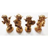 Set de 4 puttis angelots musiciens dorés : violon, flute, lyre et porte-voix