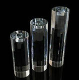Bougeoirs portes bougie en cristal Ensemble de 3 cylindres D.7 cm H.20-24-28 cm