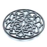 Dessous de plat en métal aluminium patiné bronze motif géométrique D 17.5 cm