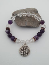 Amethyst mit Bergkristall Armband Applikation Blume des Lebens