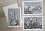 Kartenset mit Lübeckmotiven in schwarz/weiß  (3 weißen Klappkarten in der Größe B6 mit passendem Umschlag)