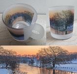 Milchglas-Tasse - Motiv Winter an der Trave