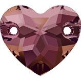 Heart Aufnähstein 2 Loch 16mm Crystal Lilac Shadow F