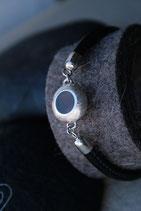 Ck6 Armband aus rundegenähtem Leder mit Mittelteil Circle klein