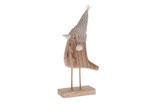 Holzvogel 24 cm x  12 cm x 5 cm  Deko Vogel mit Stoffmütze aus Holz Aufsteller Figur