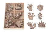 Streuartikel Mix aus Holz 24 Stück 2 cm - 4 cm x 0,2 cm zum Dekorieren und Basteln