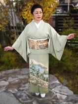 加賀友禅色留袖+鴛鴦牡丹文袋帯