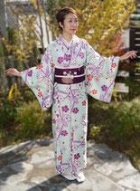梅笹小紋+菊花籠文名古屋帯