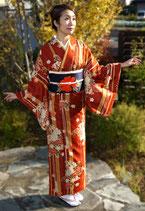 牡丹菊小紋+花紋名古屋帯
