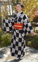 市松小紋 +織柄名古屋帯
