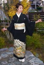 黒留袖+松鶴文袋帯