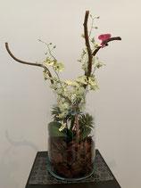 Glasvase mit Dancing Orchideen und Naturholz Nr 125