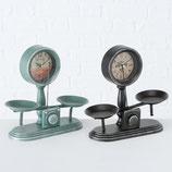Uhr antique grün Dekowaage, Blech