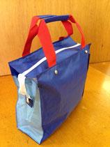 トートバッグ(紺×水色×赤ベルト)