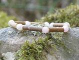 Bracelet noisetier avec écorce et quartz rose