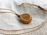Pendentif Citrine naturelle véritable avec macramé et perle d'améthyste