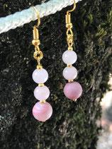 Boucles 2 perles de quartz rose (6 mm) et 1 perles de rhodonite (8mm)