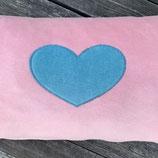 KuschelKissen ~ NICKY ~ rosa mit rosa hellblauer Herz-Applikation