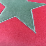 KuschelKissen ~ NICKY ~ pink mit grüner Stern-Applikation