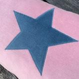 KuschelKissen ~ NICKY ~ rosa mit luftblauer Stern-Applikation