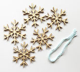 5 Schneeflocke Holzanhänger zum selber kreativ Gestalten
