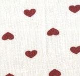 Tela lino con corazones granates
