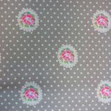 Tela estampada flores y puntos2