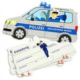 Polzeiauto Einladungskarten