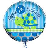 1st Birthday Boy Schildkrötchen rund Folienballon