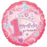 1st Birthday Girl Princess rund Folienballon
