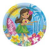 Hawaii Mädchen blau Partyteller