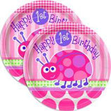 1st Birthday Girl Käferchen Partyteller