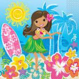 Hawaii Mädchen blau Servietten