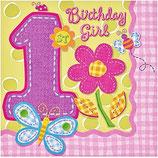 1 st Birthday Girl Servietten klein