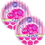 1st Birthday Girl Käferchen kleine Partyteller