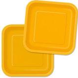 Uni Farben Gelb viereckige kleine Partyteller