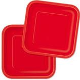 Uni Farben Rot viereckige Partyteller