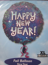 Happy New Year rund Folienballon