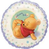 Winnie Pooh Welcome Baby rund Folienballon