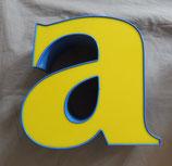 Vintage Leuchtbuchstabe a in gelb/blau