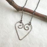Pure Herzkette geschwärzt 925 Silber g867