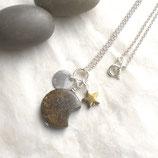Bronzit Mond Kette 925 Silber, Halskette braun, Stern, r258