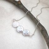 Schlichte Biwa Perlenkette 925 Silber (r151)